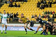 Aaron Smith passes during the super rugby union  game between Hurricanes  and Highlanders, played at Westpac Stadium, Wellington, New Zealand on 24 March 2018.  Hurricanes won 29-12.