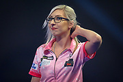 Fallon Sherrock (England) during her Second Round match against Mensur Suljovic (Serbia) (not in picture) in the PDC William Hill World Darts Championship at Alexandra Palace, London, United Kingdom on 21 December 2019.