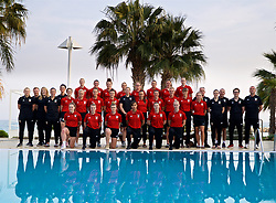 LARNACA, CYPRUS - Tuesday, March 6, 2018: Wales squad photograph at the Palm Beach Hotel & Bungalows in Larnaca on day eight of the Cyprus Cup tournament. Back row L-R: Rhiannon Roberts, Helen Ward, Angharad James, Jessica Fishlock, Rachel Rowe, Kayleigh Green, goalkeeper Claire Skinner, goalkeeper Laura O'Sullivan. Middle row L-R: Gwennan Davies, Nadia Lawrence, Melissa Fletcher, Hayley Ladd, Natasha Harding, Loren Dykes, captain Sophie Ingle, Gemma Evans, Charlie Estcourt. Front row L-R: Ellie Lake, Kylie Nolan, Hannah Miles, Amina Vine, Alice Griffiths, Elise Hughes. (Pic by David Rawcliffe/Propaganda)