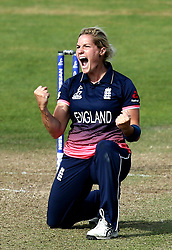 Katherine Brunt of England Women celebrates taking the wicket of Ellyse Perry of Australia Women - Mandatory by-line: Robbie Stephenson/JMP - 09/07/2017 - CRICKET - Bristol County Ground - Bristol, United Kingdom - England v Australia - ICC Women's World Cup match 19