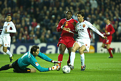 LIVERPOOL, ENGLAND - Tuesday, March 19, 2002: AS Roma's goalkeeper Francesco Antonioli saves at the feet of Liverpool's Emile Heskey during the UEFA Champions League Group B match at Anfield. (Pic by David Rawcliffe/Propaganda)
