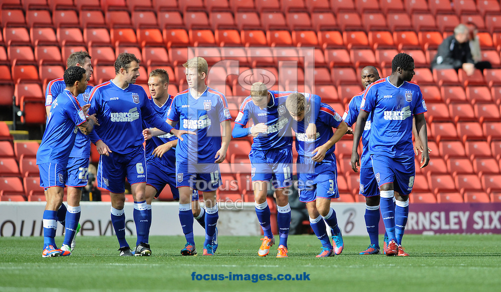 Picture by Richard Land/Focus Images Ltd +44 7713 507003.29/09/2012.Aaron Cresswell of Ipswich Town celebrates scoring during the npower Championship match at Oakwell, Barnsley.