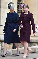 Members of The Royal Family attend Easter Service at St George's Chapel, Windsor Castle, Windsor, Berkshire, UK, on the 1st April 2018. 01 Apr 2018 Pictured: Sophie, Countess of Wessex, Lady Louise Windsor. Photo credit: James Whatling / MEGA TheMegaAgency.com +1 888 505 6342