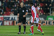 Stuart Attwell (referee) awards a free kick to Rotherham just inside their half during the EFL Sky Bet Championship match between Rotherham United and Leeds United at the New York Stadium, Rotherham, England on 26 November 2016. Photo by Mark P Doherty.