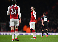 Football - 2017 / 2018 UEFA Europa League - Round of Sixteen, Second Leg: Arsenal (2) vs. AC Milan (0)<br /> <br /> Arsenal's Henrikh Mkhitaryan has words with Hector Bellerin after AC Milan's Hakan Calhanoglu scores the opening goal <br /> <br /> COLORSPORT/ASHLEY WESTERN