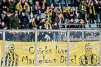 DEN HAAG - ADO Den Haag - Vitesse , Voetbal , Eredivisie , Seizoen 2016/2017 , Kyocera Stadion , 03-02-2017 ,  eindstand 0-2 , Spandoek voor Kevin Diks en Marvelous Nakamba