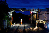SP Rail piling train in operation near Winchburgh, Scotland as part of the Scottish Trunk line electrification by - ABC Electrification (Alstom, Babcock and Costain)<br /> <br /> Picture by Alex Hewitt