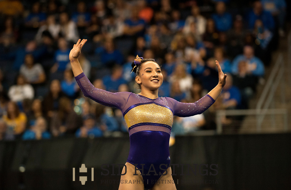 20 APRIL 2018 -- ST. LOUIS -- LSU gymnast Myia Hambrick competes in the Floor Exercise during the 2018 NCAA Women's Gymnastics Championship Semifinals in St. Louis Friday, April 20, 2018. LSU finished second in the semifinal, joining UCLA and Nebraska in advancing from the first semifinal into the Super Six championship round on Saturday.<br /> <br /> Photo &copy; copyright 2018 Sid Hastings.
