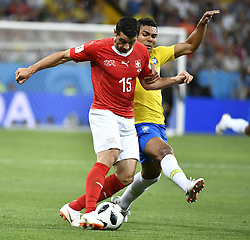 ROSTOV-ON-DON, June 17, 2018  Blerim Dzemaili (L) of Switzerland competes during a group E match between Brazil and Switzerland at the 2018 FIFA World Cup in Rostov-on-Don, Russia, June 17, 2018. The match ended in a 1-1 draw. (Credit Image: © Chen Yichen/Xinhua via ZUMA Wire)