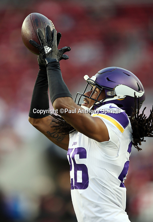 Minnesota Vikings rookie cornerback Trae Waynes (26) catches a pass while warming up before the 2015 NFL week 1 regular season football game against the San Francisco 49ers on Monday, Sept. 14, 2015 in Santa Clara, Calif. The 49ers won the game 20-3. (©Paul Anthony Spinelli)