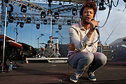 Michael Angelakos, The lead singer of the group Passion Pit, performs at The Nateva Music and Camping Festival in Oxford, Maine over the 4th of July Weekend 2010.