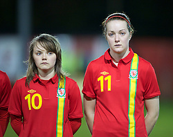 NEWTOWN, WALES - Friday, February 1, 2013: Wales' Ellie Curson and Samanthan Quayle line up before the Women's Under-19 International Friendly match against Norway at Latham Park. (Pic by David Rawcliffe/Propaganda)