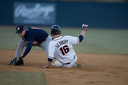 Virginia Cavaliers catcher Beau Seabury (16) beats the throw and tag at second on a steal against Bucknell.  The Virginia Cavaliers Baseball Team defeated the Bucknell University Bison 2-0 at Davenport Field in Charlottesville, VA on February 23, 2007.