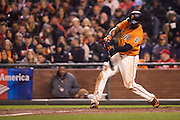 San Francisco Giants center fielder Denard Span (2) swings at a pitch against the St. Louis Cardinals at AT&T Park in San Francisco, Calif., on September 16, 2016. (Stan Olszewski/Special to S.F. Examiner)