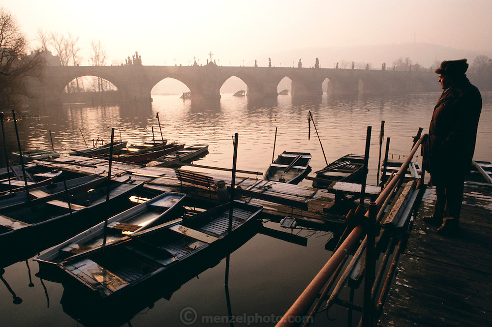 Winter dawn on the Vlatava River. Prague, Czech Republic.