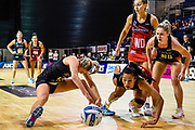Monica Falkner of the Magic and Temalisi Fakahokotau of the Tactix fight for the ball during the ANZ Premiership Netball match, Tactix V Magic, Horncastle Arena, Christchurch, New Zealand, 6th June 2018.Copyright photo: John Davidson / www.photosport.nz
