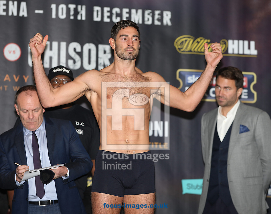 Frank Buglioni during the weigh in for the Joshua v Molina IBF Heavyweight title fight at Victoria Warehouse, Manchester<br /> Picture by James Wilson/Focus Images Ltd 07709 548263<br /> 09/12/2016