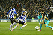 Sheffield Wednesday midfielder Barry Bannan stretches for the ball during the Capital One Cup Fourth Round match between Sheffield Wednesday and Arsenal at Hillsborough, Sheffield, England on 27 October 2015. Photo by Aaron Lupton.