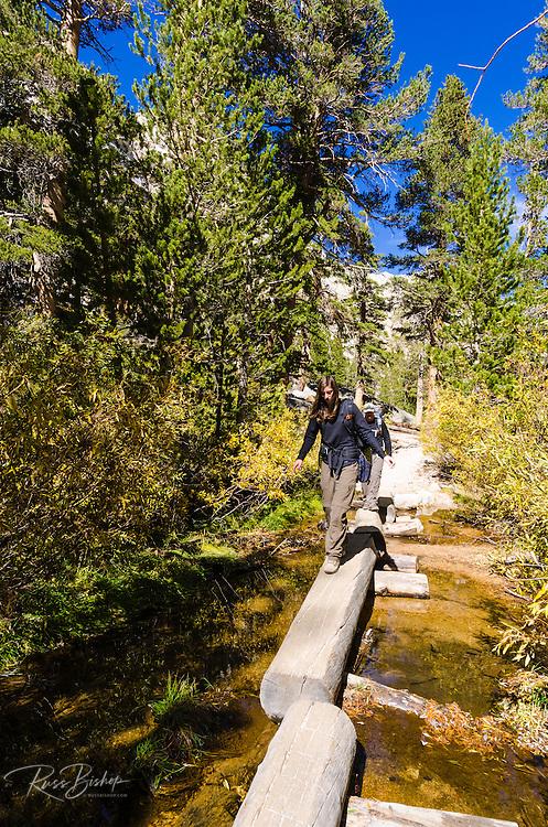 Backpackers crossing creek on the Mount Whitney Trail, John Muir Wilderness, California USA