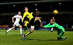 Jackson Irvine of Burton Albion beats David Button of Fulham to the ball - Mandatory by-line: Robbie Stephenson/JMP - 01/02/2017 - FOOTBALL - Pirelli Stadium - Burton Upon Trent, England - Burton Albion v Fulham - Sky Bet Championship