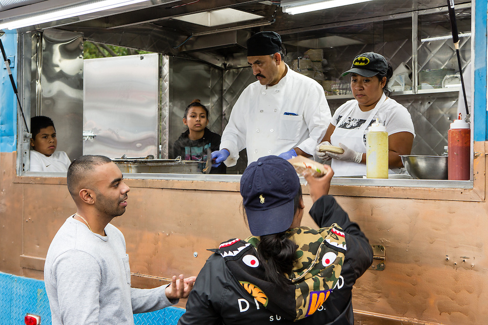Queens, NY - October 2, 2016. Galdino Molinero, owner and chef of Tortas Neza, in his truck at The Feastival of Queens.