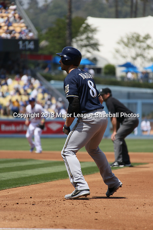 LOS ANGELES, CA - APRIL 28:  Ryan Braun #8 of the Milwaukee Brewers leads off first base during the game against the Los Angeles Dodgers on Sunday, April 28, 2013 at Dodger Stadium in Los Angeles, California. The Dodgers won the game 2-0. (Photo by Paul Spinelli/MLB Photos via Getty Images) *** Local Caption *** Ryan Braun