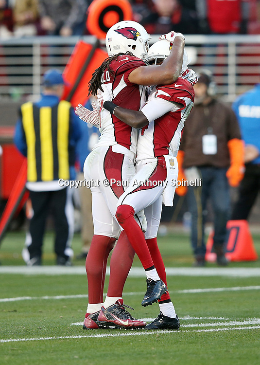 Arizona Cardinals wide receiver J.J. Nelson (14) celebrates with Arizona Cardinals wide receiver Larry Fitzgerald (11) after Nelson catches a 34 yard late fourth quarter pass for a first and goal at the one yard line that sets up the winning score during the 2015 week 12 regular season NFL football game against the San Francisco 49ers on Sunday, Nov. 29, 2015 in Santa Clara, Calif. The Cardinals won the game 19-13. (©Paul Anthony Spinelli)