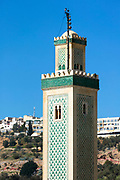 FEZ, MOROCCO 3rd FEBRUARY 2018 - Close-up of the Zawiya Moulay Idriss II minaret and surrounding rooftops of the old Fez Medina, Middle Atlas Mountains, Morocco.