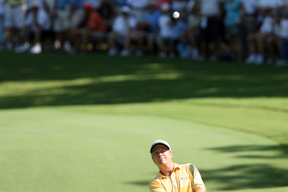 10 August 2007: Jeff Sluman makes an approach shot to the 17th green during the second round of the 89th PGA Championship at Southern Hills Country Club in Tulsa, OK.