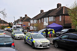 &copy; Licensed to London News Pictures.06/04/2018<br /> HITHER GREEN, UK.<br /> DAY 3. Hither Green Burglary Murder. South Park Crescent,Hither Green.<br /> Police outside the home of 78 year old Richard Osborn-Brooks who has been bailed for stabbing a burglar to death in his home.<br /> Photo credit: Grant Falvey/LNP
