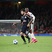 Dinamo Zagreb's Paulo Machado trying to start an attack during the Champions League match between Arsenal and Dinamo Zagreb at the Emirates Stadium, London, England on 24 November 2015. Photo by Matthew Redman.