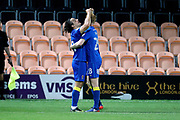 AFC Wimbledon attacker Egli Kaja (21) celebrating after scoring goal to make it 2-1 during the EFL Trophy match between Barnet and AFC Wimbledon at Underhill Stadium, London, England on 29 August 2017. Photo by Matthew Redman.