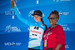 Liane Lippert (GER) of Team Sunweb celebrates winning the most active rider's blue jersey after Stage 3 of the Amgen Tour of California - a 70 km road race, starting and finishing in Sacramento on May 19, 2018, in California, United States. (Photo by Balint Hamvas/Velofocus.com)