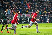 ALKMAAR - 20-02-2016, AZ - FC Groningen, AFAS Stadion, 4-1, AZ speler Ron Vlaar heeft de 2-0 gescoord, AZ speler Vincent Janssen.