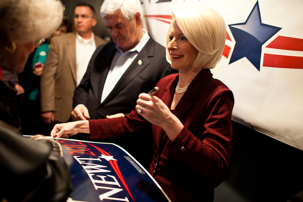 Callista Gingrich, wife of Republican presidential candidate Newt Gingrich, signs an autograph at Tish's Restaurant on Saturday, December 31, 2011 in Council Bluffs, IA.