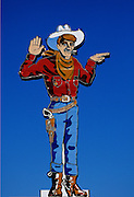 "Image of the ""Wendover Will"" neon cowboy sign in downtown Wendover, Utah, American Southwest"