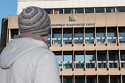 Visitor outside Sheffield Magistrates' Court