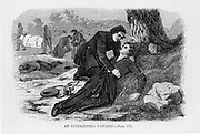 """Sarah Emma Edmonds (1841 - 1898), a Canadian-born woman who is best known for serving with the Union Army during the American Civil War as both a nurse and a spy (first disguised as a man, """"Frank Thompson""""). Her account of various Civil War exploits was published in 1865 """"Nurse and Spy in the Union Army"""" She is comforting a dying Union soldier who she discovers is really a woman. Vintage Illustration: Civil War; Women at war; Espionage. Vintage Illustration: Civil War"""