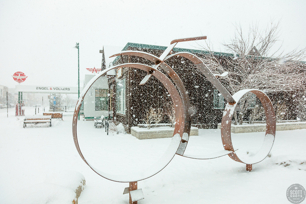 """Downtown Truckee 48"" - Photograph of historic Downtown Truckee, California shot during a snow storm."
