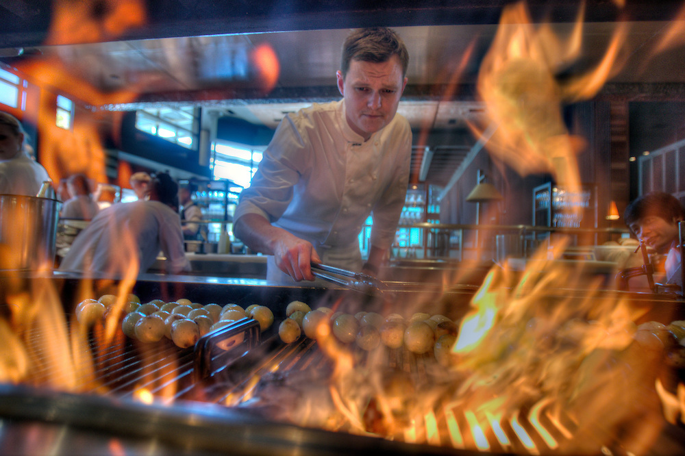 Chef Zac Nicholson prepares a steak on flames at Rockpool at Crown. Pic By Craig Sillitoe CSZ/The Sunday Age.24/02/2012  Pic By Craig Sillitoe CSZ / The Sunday Age melbourne photographers, commercial photographers, industrial photographers, corporate photographer, architectural photographers, This photograph can be used for non commercial uses with attribution. Credit: Craig Sillitoe Photography / http://www.csillitoe.com<br />
