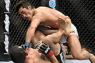 "LAS VEGAS, NEVADA, MAY 24, 2008: Dong Hyun Kim (top) scores a punch to the face of a grounded Jason Tan during ""UFC 84: Ill Will"" inside the MGM Grand Garden Arena in Las Vegas"