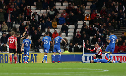 Bryan Oviedo of Sunderland is shown a straight red card for a kick on Marcus Maddison of Peterborough United - Mandatory by-line: Joe Dent/JMP - 02/10/2018 - FOOTBALL - Stadium of Light - Sunderland, England - Sunderland v Peterborough United - Sky Bet League One