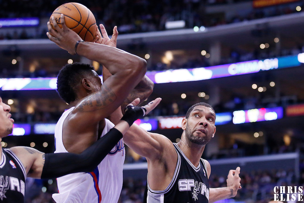 18 February 2014: San Antonio Spurs power forward Tim Duncan (21) defends on Los Angeles Clippers center DeAndre Jordan (6) during the San Antonio Spurs 113-103 victory over the Los Angeles Clippers at the Staples Center, Los Angeles, California, USA.