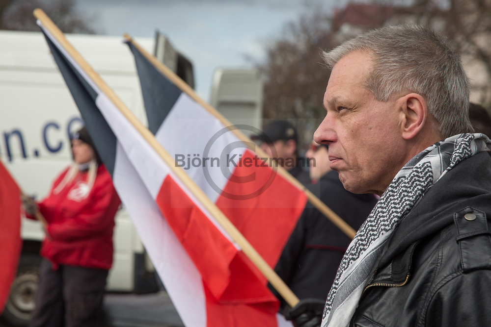 Leipzig, Germany - 18.03.2017<br /> <br /> Christian Worch, leader of the neo nazi party &quot;die Rechte&quot;. Neo nazi march of the far right party &rdquo;die Rechte&rdquo; in Leipzig with about 120 participants.<br /> <br /> Christian Worch, Vorsitzender der Neonazi-Partei &quot;die Rechte&quot;. Neonazi-Aufmarsch der Partei &quot;Die Rechte&quot; in Leipzig mit etwa 120 Teilnehmern. <br /> <br /> Photo: Bjoern Kietzmann