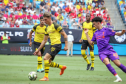 July 22, 2018 - Charlotte, North Carolina, USA - Borussia Dortmund forward Maximilian Philipp (20) and Liverpool midfielder Curtis Jones (48) during an International Champions Cup match at Bank of America Stadium in Charlotte, NC.  Borussia Dortmund of the German Bundesliga beat Liverpool of the English Premier League 3 to 1. (Credit Image: © Jason Walle via ZUMA Wire)