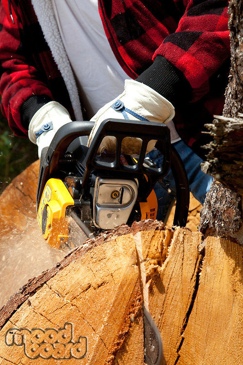 Close-up view of lumberjack with electric saw