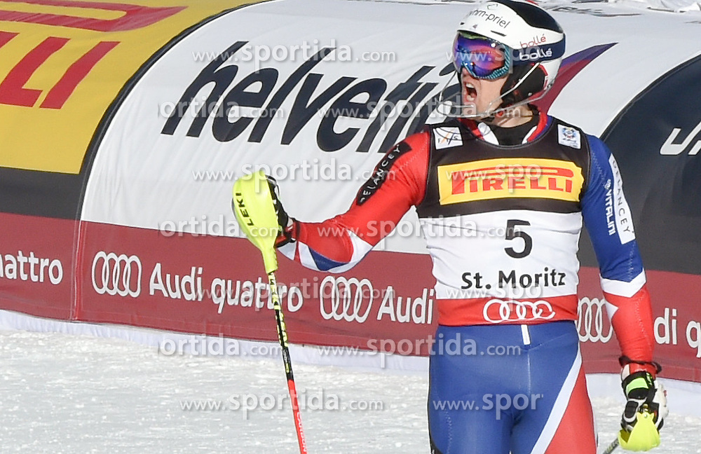 19.02.2017, St. Moritz, SUI, FIS Weltmeisterschaften Ski Alpin, St. Moritz 2017, Slalom, Herren, 1. Lauf, im Bild Dave Ryding (GBR) // Dave Ryding of United Kingdom reacts after his 1st run of men's Slalom of the FIS Ski World Championships 2017. St. Moritz, Switzerland on 2017/02/19. EXPA Pictures © 2017, PhotoCredit: EXPA/ Erich Spiess/ Erich Spiess