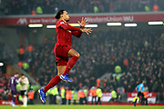 Liverpool defender Virgil van Dijk (4) during the Premier League match between Liverpool and Manchester United at Anfield, Liverpool, England on 19 January 2020.