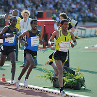 Haile Gebrselassie runs before Silishi Sihine and Eliud Kipchoge on the 10.000 meters during the  FBK games 2008 in Hengelo,