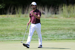 September 2, 2018 - Norton, Massachusetts, United States - Abraham Ancer waves to the crowd after putting the 3rd green during the third round of the Dell Technologies Championship. (Credit Image: © Debby Wong/ZUMA Wire)
